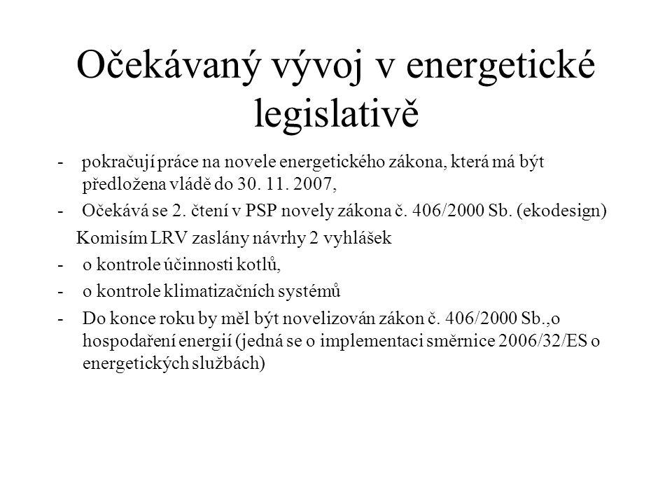 Očekávaný vývoj v energetické legislativě - pokračují práce na novele energetického zákona, která má být předložena vládě do 30. 11. 2007, - Očekává s