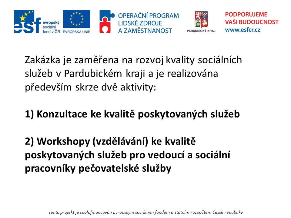Tento projekt je spolufinancován Evropským sociálním fondem a státním rozpočtem České republiky Zakázka je zaměřena na rozvoj kvality sociálních služeb v Pardubickém kraji a je realizována především skrze dvě aktivity: 1) Konzultace ke kvalitě poskytovaných služeb 2) Workshopy (vzdělávání) ke kvalitě poskytovaných služeb pro vedoucí a sociální pracovníky pečovatelské služby