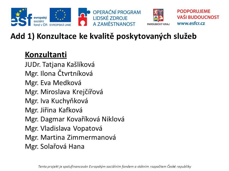Tento projekt je spolufinancován Evropským sociálním fondem a státním rozpočtem České republiky Add 1) Konzultace ke kvalitě poskytovaných služeb Konzultanti JUDr.