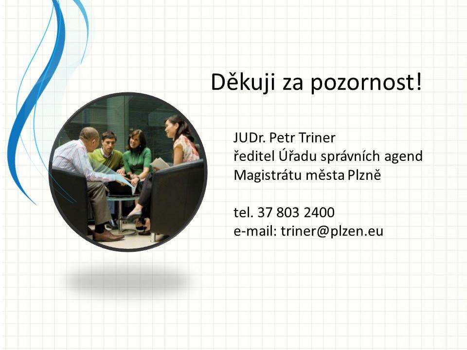Děkuji za pozornost! JUDr. Petr Triner ředitel Úřadu správních agend Magistrátu města Plzně tel. 37 803 2400 e-mail: triner@plzen.eu