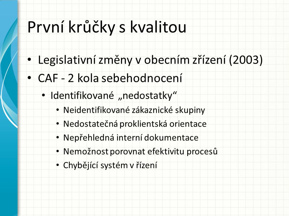 """První krůčky s kvalitou Legislativní změny v obecním zřízení (2003) CAF - 2 kola sebehodnocení Identifikované """"nedostatky"""" Neidentifikované zákaznické"""