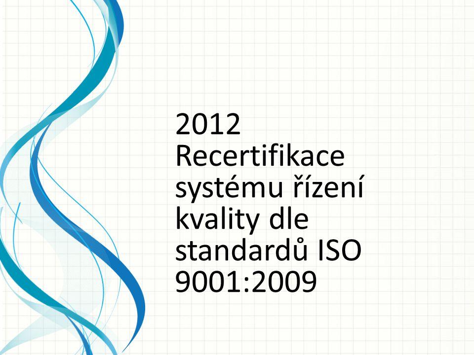2012 Recertifikace systému řízení kvality dle standardů ISO 9001:2009