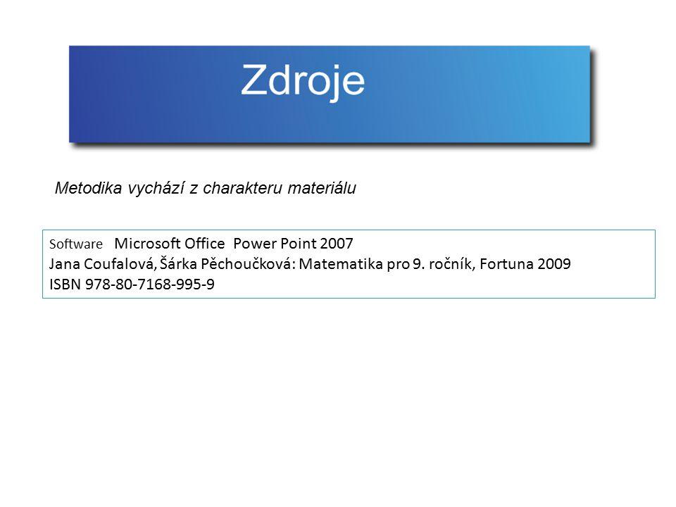 Software Microsoft Office Power Point 2007 Jana Coufalová, Šárka Pěchoučková: Matematika pro 9. ročník, Fortuna 2009 ISBN 978-80-7168-995-9 Metodika v