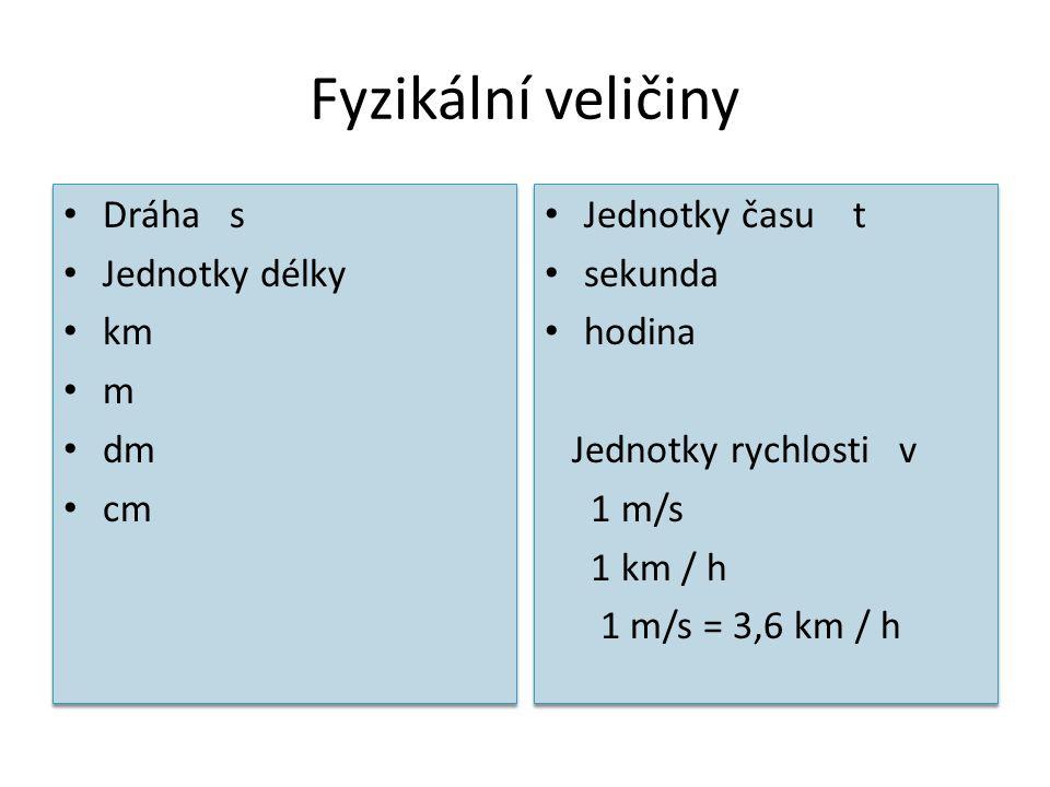 Fyzikální veličiny Dráha s Jednotky délky km m dm cm Dráha s Jednotky délky km m dm cm Jednotky času t sekunda hodina Jednotky rychlosti v 1 m/s 1 km
