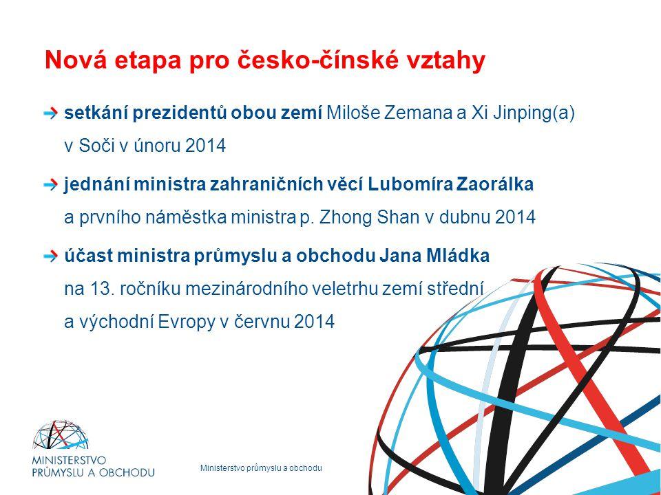 Ministerstvo průmyslu a obchodu Nová etapa pro česko-čínské vztahy setkání prezidentů obou zemí Miloše Zemana a Xi Jinping(a) v Soči v únoru 2014 jednání ministra zahraničních věcí Lubomíra Zaorálka a prvního náměstka ministra p.