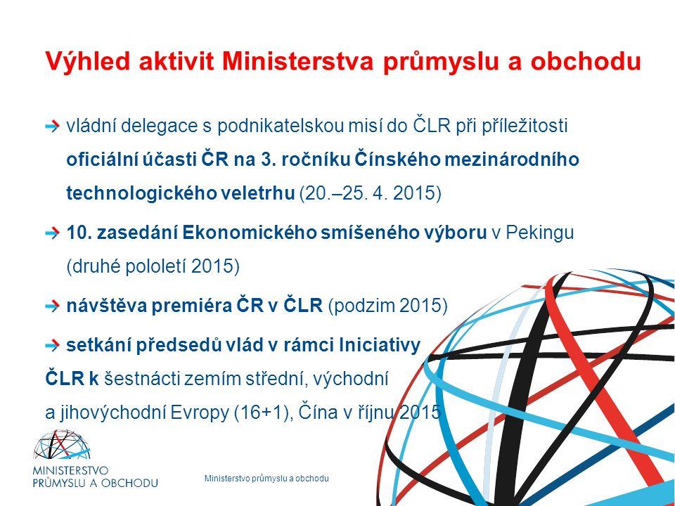 Ministerstvo průmyslu a obchodu Výhled aktivit Ministerstva průmyslu a obchodu vládní delegace s podnikatelskou misí do ČLR při příležitosti oficiální účasti ČR na 3.