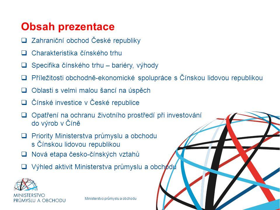 Ministerstvo průmyslu a obchodu Obsah prezentace  Zahraniční obchod České republiky  Charakteristika čínského trhu  Specifika čínského trhu – barié