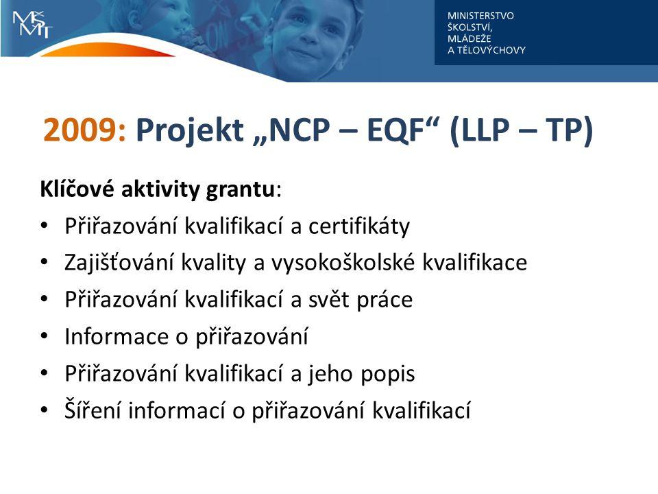 """2009: Projekt """"NCP – EQF (LLP – TP) Klíčové aktivity grantu: Přiřazování kvalifikací a certifikáty Zajišťování kvality a vysokoškolské kvalifikace Přiřazování kvalifikací a svět práce Informace o přiřazování Přiřazování kvalifikací a jeho popis Šíření informací o přiřazování kvalifikací"""