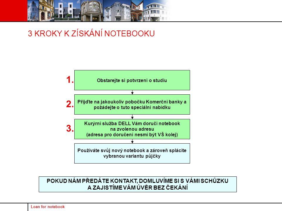 Loan for notebook 3 KROKY K ZÍSKÁNÍ NOTEBOOKU POKUD NÁM PŘEDÁTE KONTAKT, DOMLUVÍME SI S VÁMI SCHŮZKU A ZAJISTÍME VÁM ÚVĚR BEZ ČEKÁNÍ Obstarejte si potvrzení o studiu Přijďte na jakoukoliv pobočku Komerční banky a požádejte o tuto speciální nabídku Kurýrní služba DELL Vám doručí notebook na zvolenou adresu (adresa pro doručení nesmí být VŠ kolej) Používáte svůj nový notebook a zároveň splácíte vybranou variantu půjčky 1.