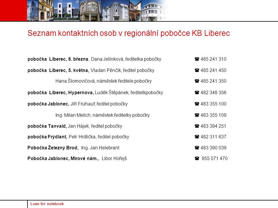 Loan for notebook Seznam kontaktních osob v regionální pobočce KB Liberec pobočka Liberec, 8. března, Dana Jelínková, ředitelka pobočky  485 241 310