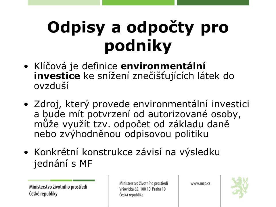 Odpisy a odpočty pro podniky Klíčová je definice environmentální investice ke snížení znečišťujících látek do ovzduší Zdroj, který provede environmentální investici a bude mít potvrzení od autorizované osoby, může využít tzv.