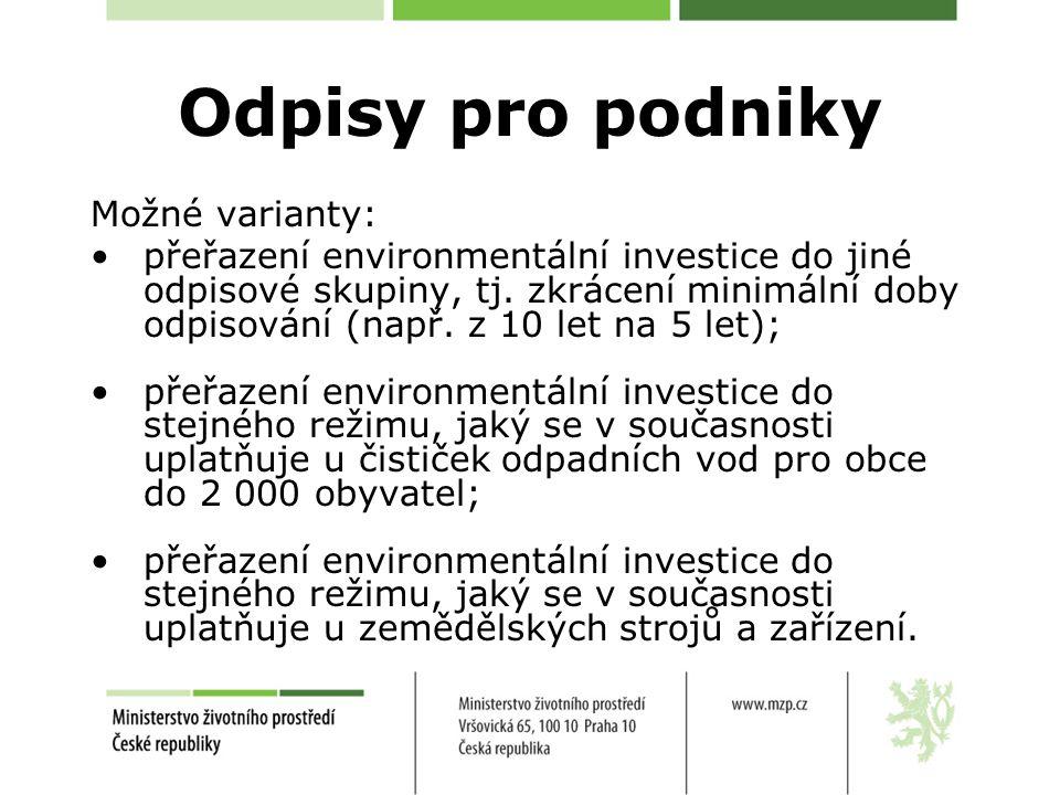 Odpisy pro podniky Možné varianty: přeřazení environmentální investice do jiné odpisové skupiny, tj. zkrácení minimální doby odpisování (např. z 10 le
