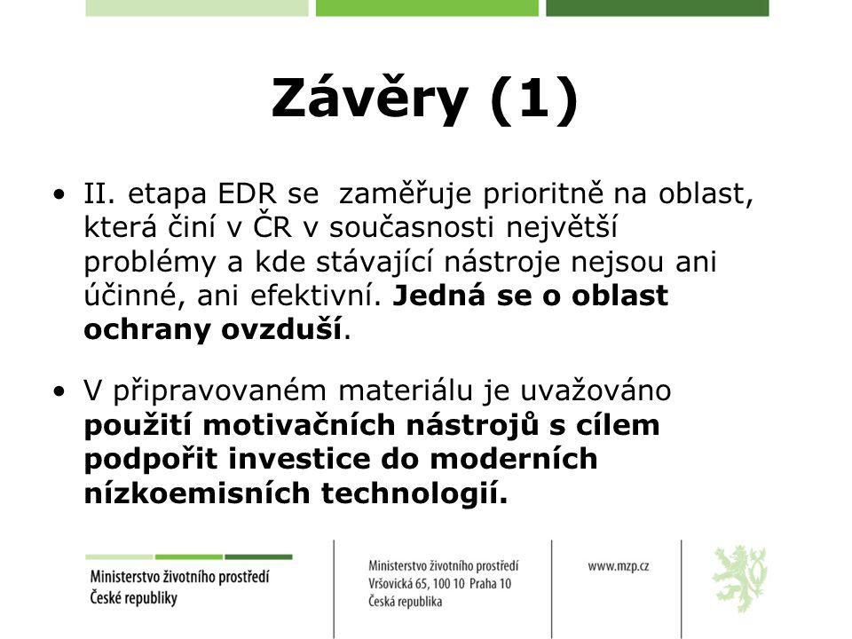 Závěry (1) II. etapa EDR se zaměřuje prioritně na oblast, která činí v ČR v současnosti největší problémy a kde stávající nástroje nejsou ani účinné,