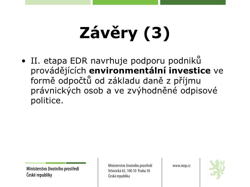 Závěry (3) II. etapa EDR navrhuje podporu podniků provádějících environmentální investice ve formě odpočtů od základu daně z příjmu právnických osob a