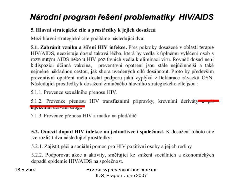 18.6.2007HIV/AIDS prevention and care for IDS, Prague, June 2007 Testování IDU Situace v šíření infekce HIV v populaci injekčních uživatelů drog je bedlivě sledována i s pomocí nevládních organizací, zaměřených na práci s drogově závislými.