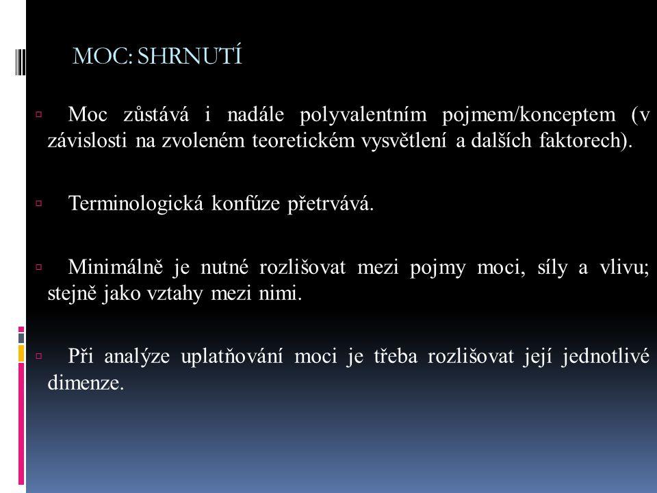 MOC: SHRNUTÍ  Moc zůstává i nadále polyvalentním pojmem/konceptem (v závislosti na zvoleném teoretickém vysvětlení a dalších faktorech).  Terminolog