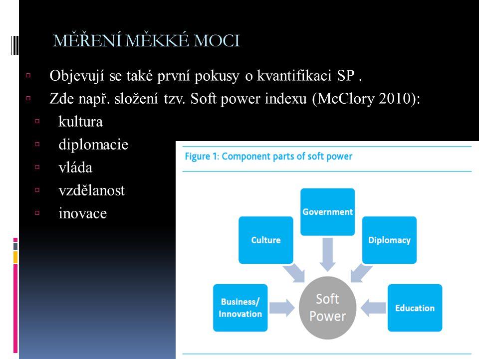 MĚŘENÍ MĚKKÉ MOCI  Objevují se také první pokusy o kvantifikaci SP.  Zde např. složení tzv. Soft power indexu (McClory 2010):  kultura  diplomacie