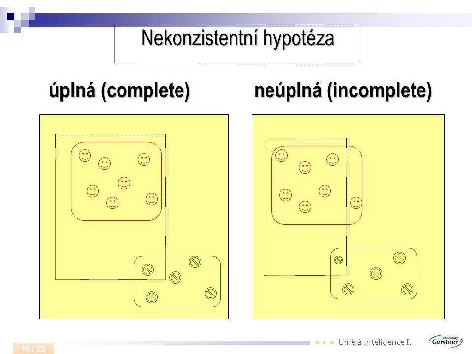 Umělá inteligence I. 10 / 23 Nekonzistentní hypotéza úplná (complete) neúplná (incomplete)