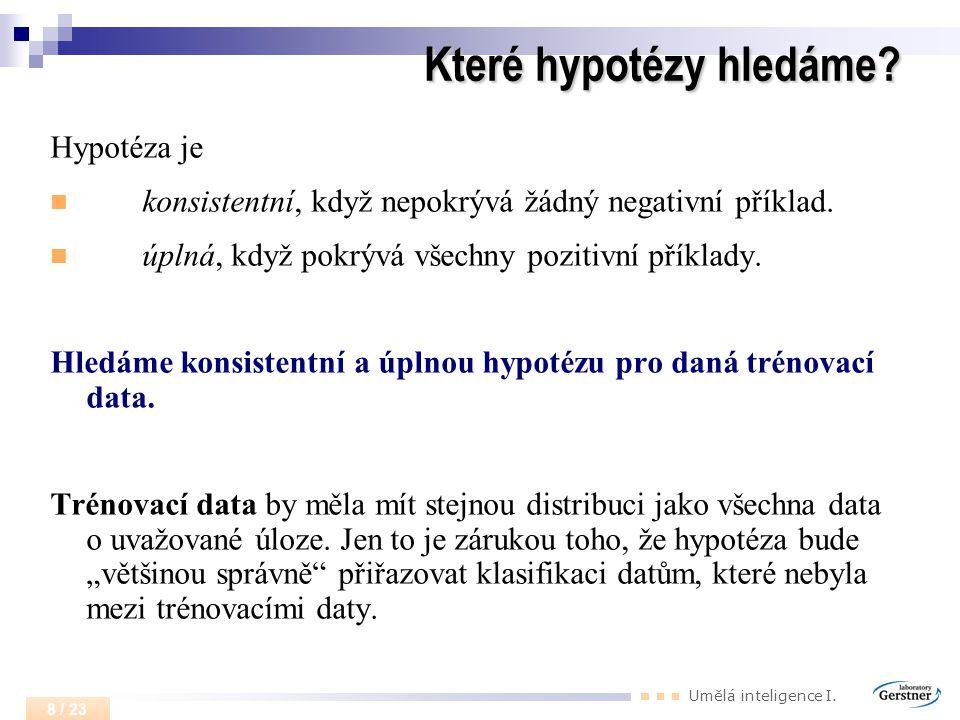 Umělá inteligence I. 8 / 23 Které hypotézy hledáme? Hypotéza je konsistentní, když nepokrývá žádný negativní příklad. úplná, když pokrývá všechny pozi