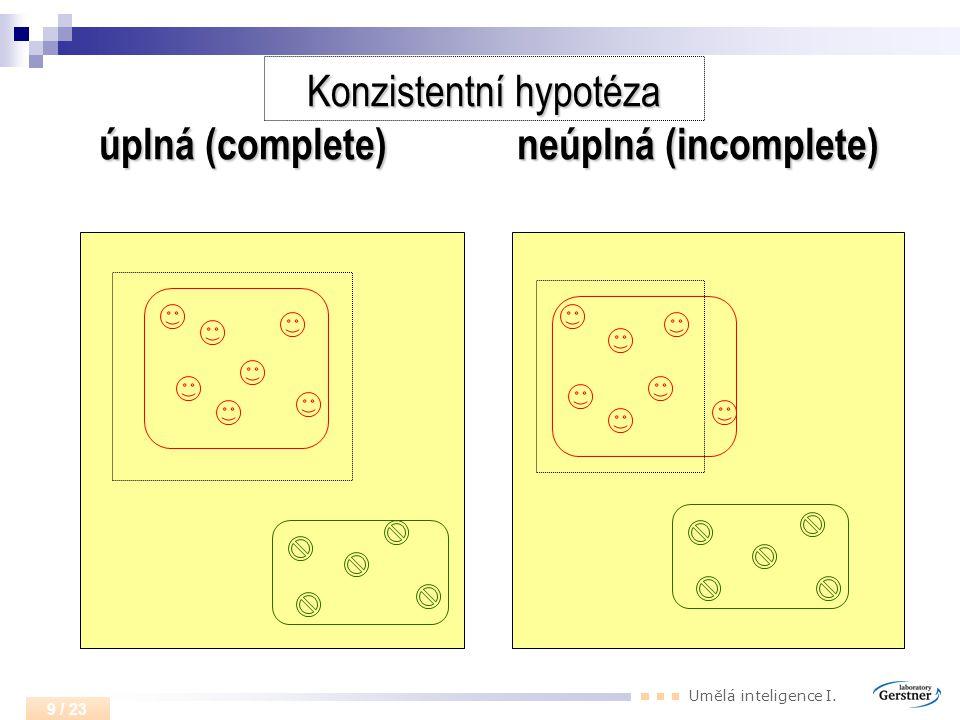Umělá inteligence I. 9 / 23 Konzistentní hypotéza úplná (complete) neúplná (incomplete)