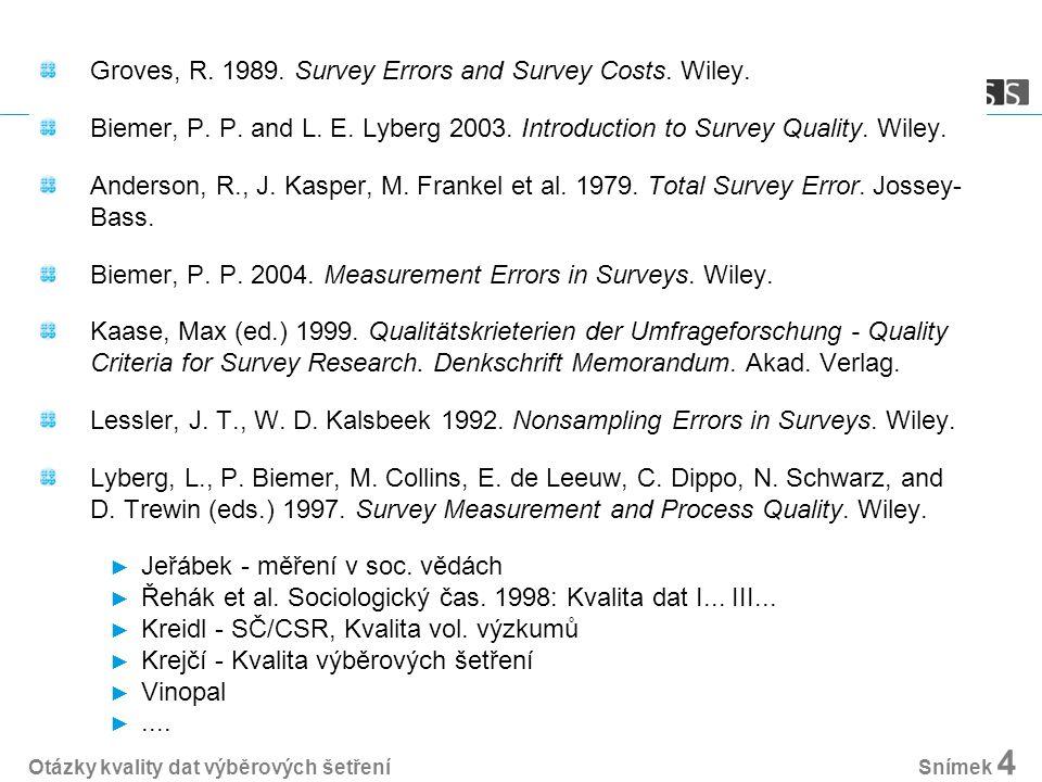 Výběrová šetření v sociologii - dva zdroje matematická statistika ► výběr ► přesnost dvě dimenze: accuracy, precision dvě perspektivy: bias, variable variance ► výběrová chyba a nevýběrové chyby psychometrie ► výzkumný nástroj ► validita a reliabilita validita = schopnost měřit koncept, který chceme měřit (koncept) reliabilita = přesnost, konzistentnost měření (nástroj) reliabilita je jednou z podmínek validity Otázky kvality dat výběrových šetření Snímek 5
