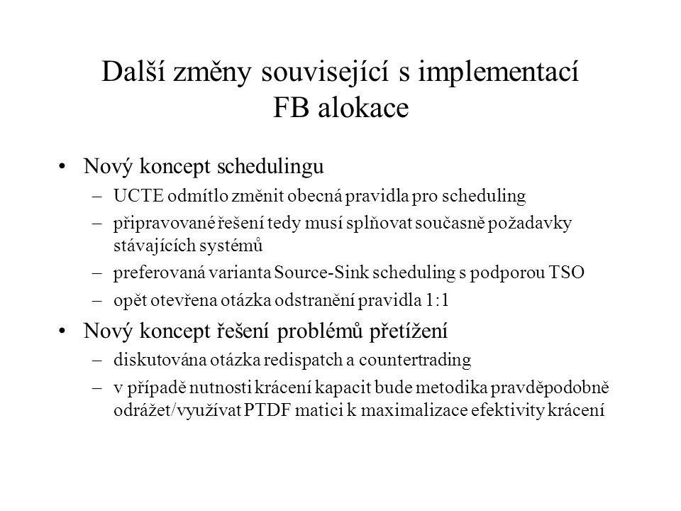 Další změny související s implementací FB alokace Nový koncept schedulingu –UCTE odmítlo změnit obecná pravidla pro scheduling –připravované řešení te