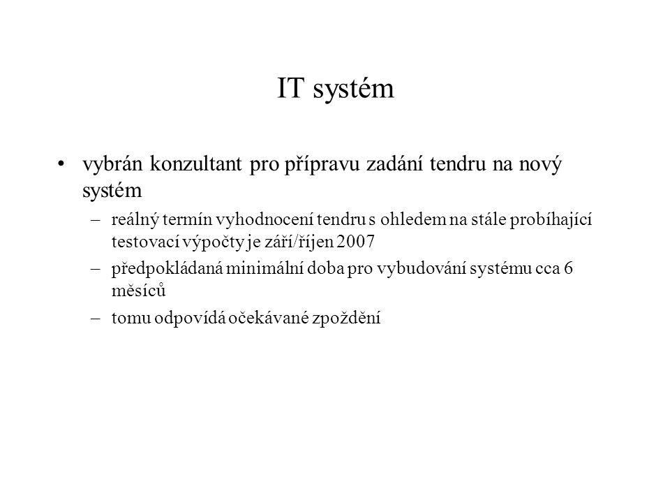 IT systém vybrán konzultant pro přípravu zadání tendru na nový systém –reálný termín vyhodnocení tendru s ohledem na stále probíhající testovací výpočty je září/říjen 2007 –předpokládaná minimální doba pro vybudování systému cca 6 měsíců –tomu odpovídá očekávané zpoždění