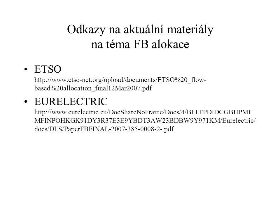 Odkazy na aktuální materiály na téma FB alokace ETSO http://www.etso-net.org/upload/documents/ETSO%20_flow- based%20allocation_final12Mar2007.pdf EURELECTRIC http://www.eurelectric.eu/DocShareNoFrame/Docs/4/BLFFPDIDCGBHPMI MFINPOHKGK91DY3R37E3E9YBDT3AW23BDBW9Y971KM/Eurelectric/ docs/DLS/PaperFBFINAL-2007-385-0008-2-.pdf