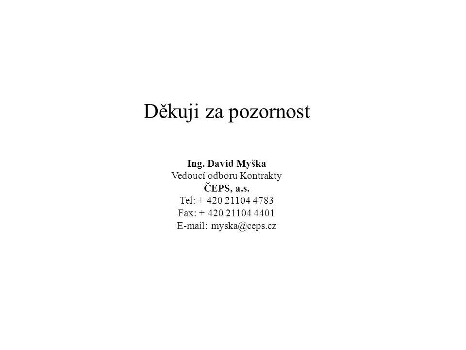 Děkuji za pozornost Ing. David Myška Vedoucí odboru Kontrakty ČEPS, a.s. Tel: + 420 21104 4783 Fax: + 420 21104 4401 E-mail: myska@ceps.cz