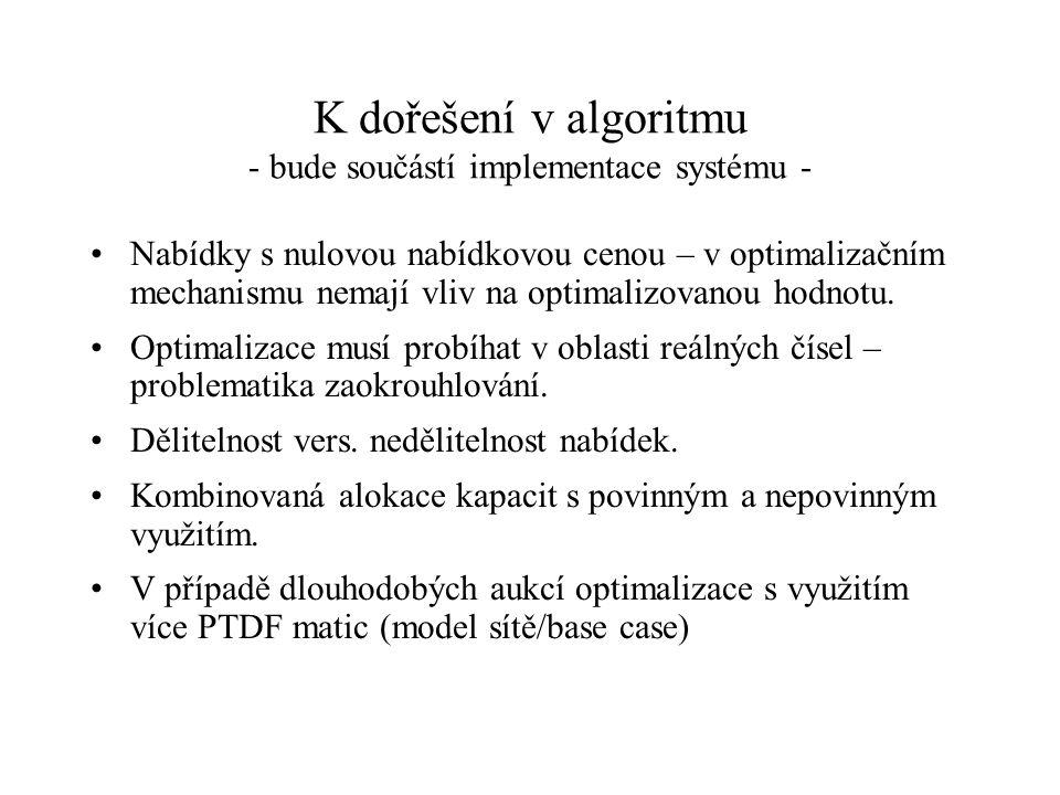 K dořešení v algoritmu - bude součástí implementace systému - Nabídky s nulovou nabídkovou cenou – v optimalizačním mechanismu nemají vliv na optimali