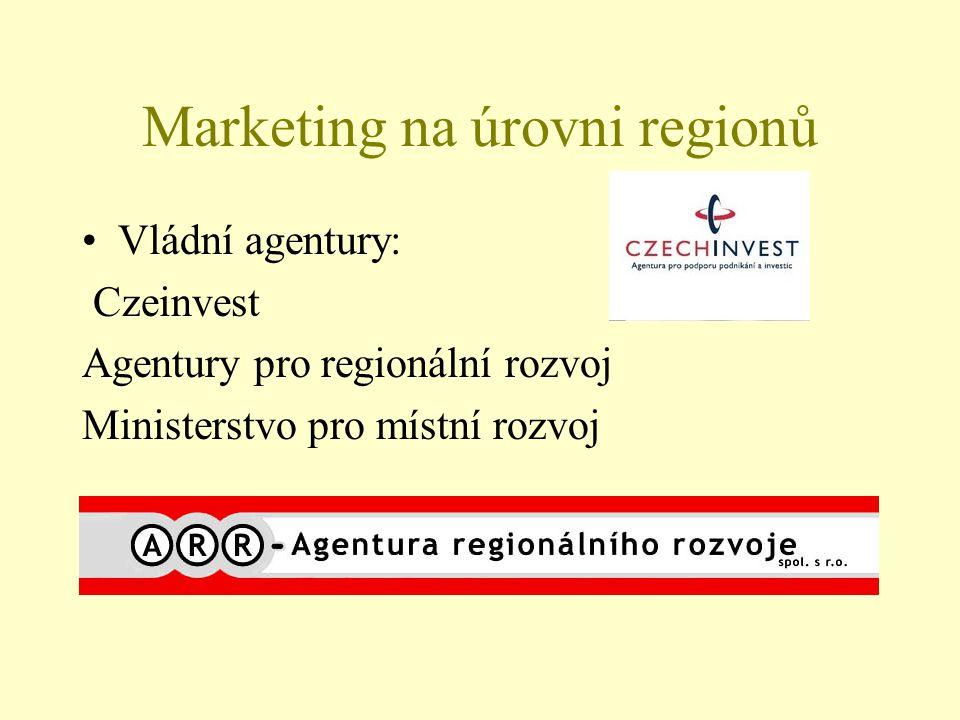 Marketing na úrovni regionů Vládní agentury: Czeinvest Agentury pro regionální rozvoj Ministerstvo pro místní rozvoj