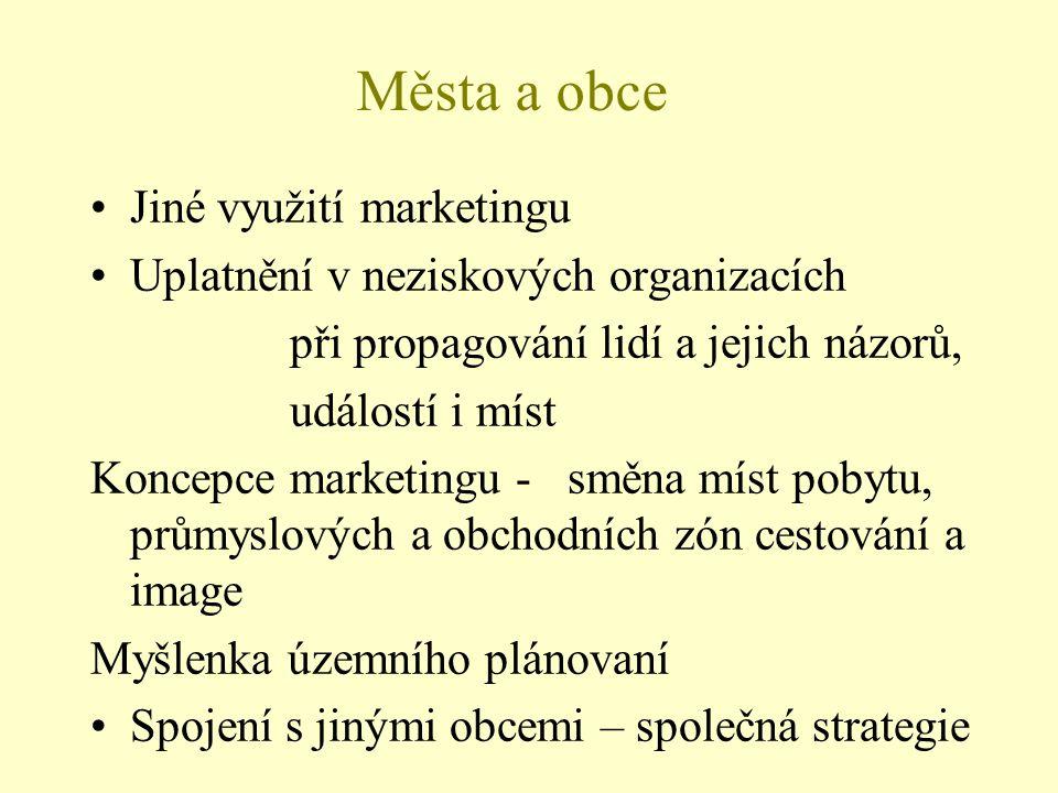 Města a obce Jiné využití marketingu Uplatnění v neziskových organizacích při propagování lidí a jejich názorů, událostí i míst Koncepce marketingu -
