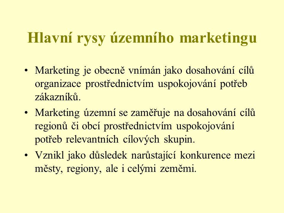 Hlavní rysy územního marketingu Marketing je obecně vnímán jako dosahování cílů organizace prostřednictvím uspokojování potřeb zákazníků. Marketing úz