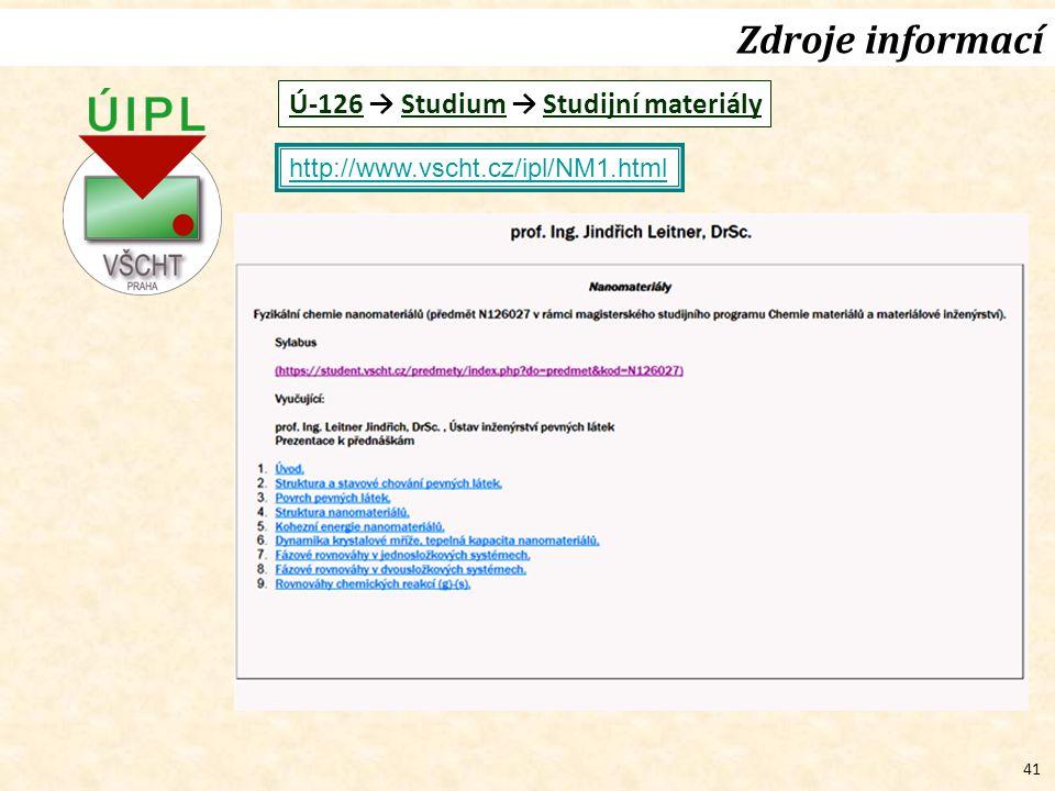 41 Zdroje informací http://www.vscht.cz/ipl/NM1.html Ú-126 → Studium → Studijní materiály