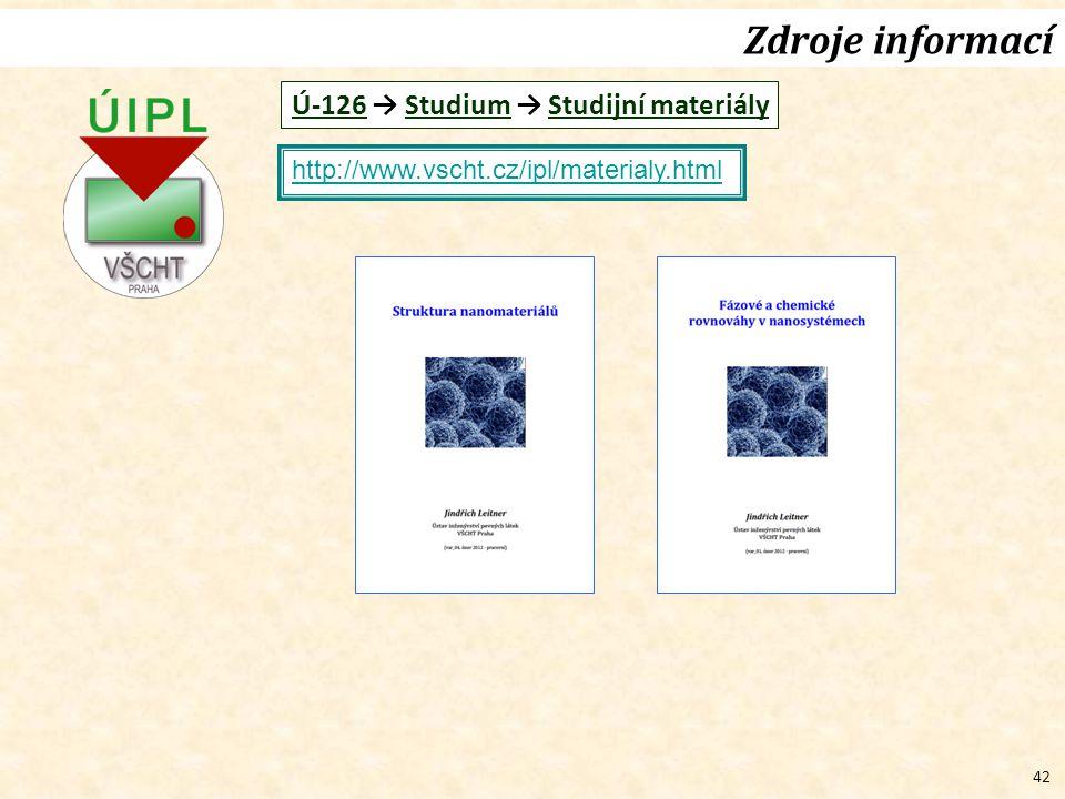 42 Zdroje informací http://www.vscht.cz/ipl/materialy.html Ú-126 → Studium → Studijní materiály