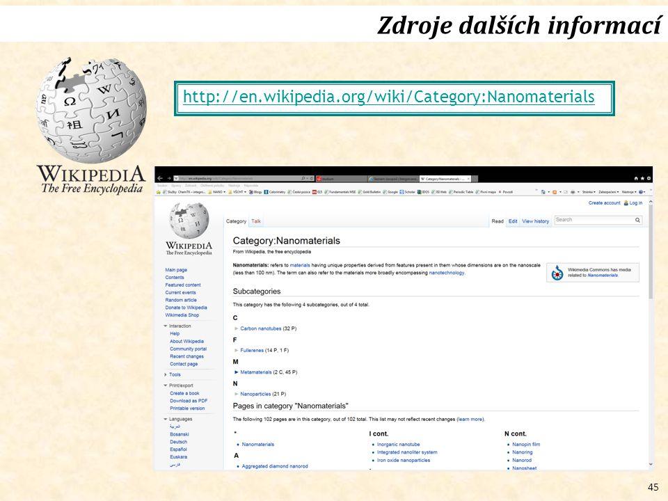 45 Zdroje dalších informací http://en.wikipedia.org/wiki/Category:Nanomaterials