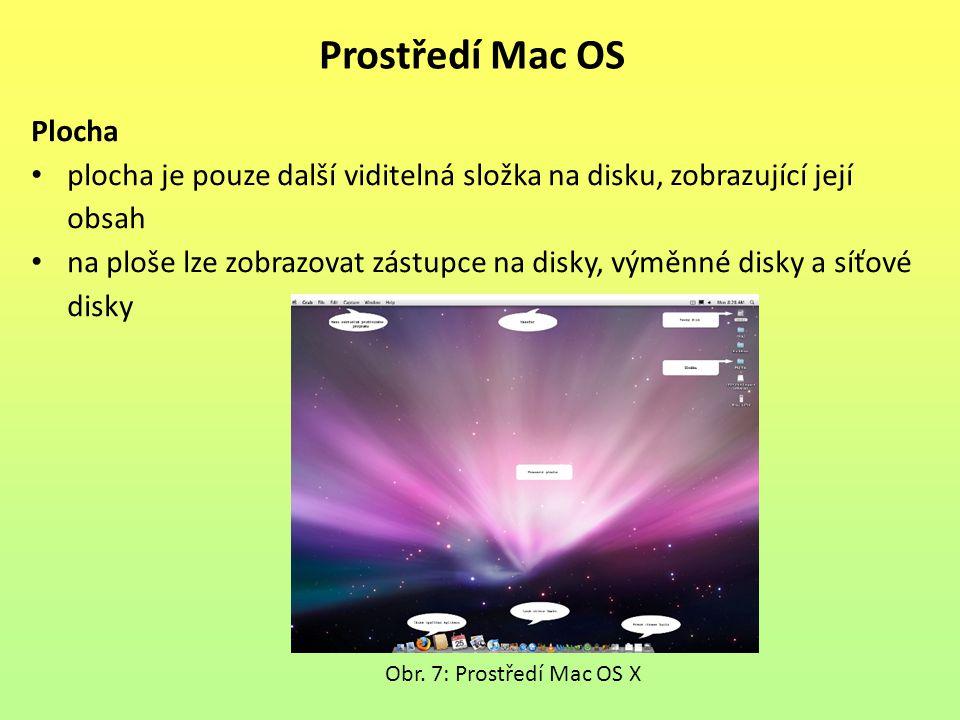 Plocha plocha je pouze další viditelná složka na disku, zobrazující její obsah na ploše lze zobrazovat zástupce na disky, výměnné disky a síťové disky Prostředí Mac OS Obr.