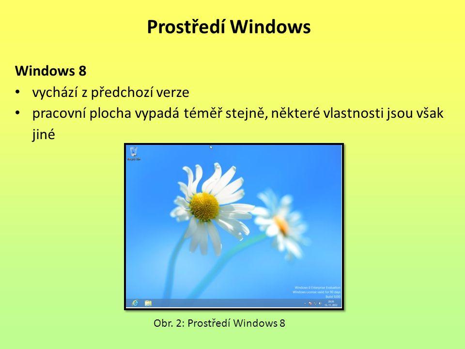 Windows 8 vychází z předchozí verze pracovní plocha vypadá téměř stejně, některé vlastnosti jsou však jiné Prostředí Windows Obr.