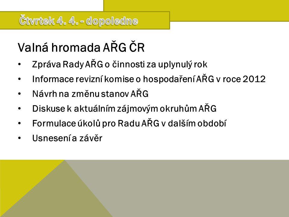 Valná hromada AŘG ČR Zpráva Rady AŘG o činnosti za uplynulý rok Informace revizní komise o hospodaření AŘG v roce 2012 Návrh na změnu stanov AŘG Disku