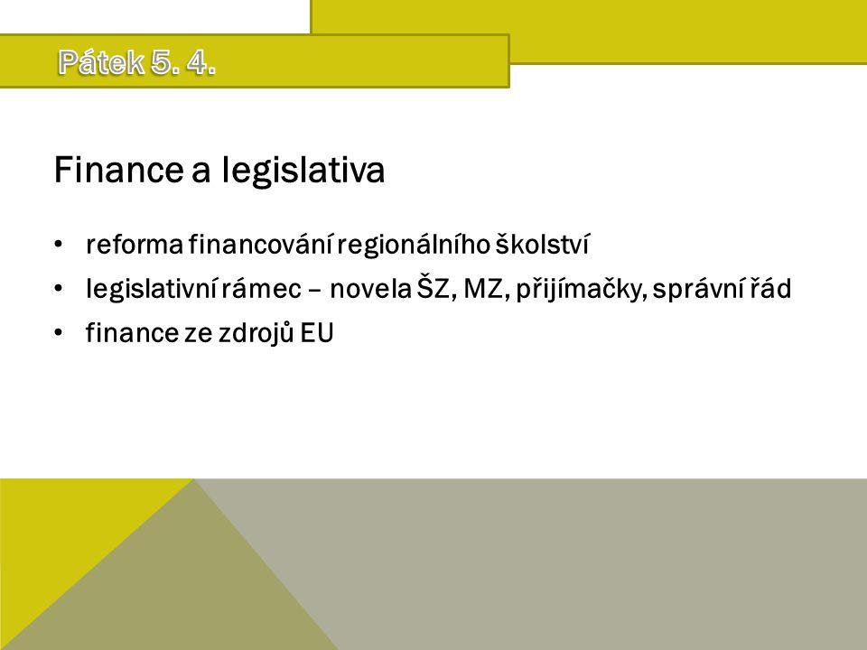 Finance a legislativa reforma financování regionálního školství legislativní rámec – novela ŠZ, MZ, přijímačky, správní řád finance ze zdrojů EU