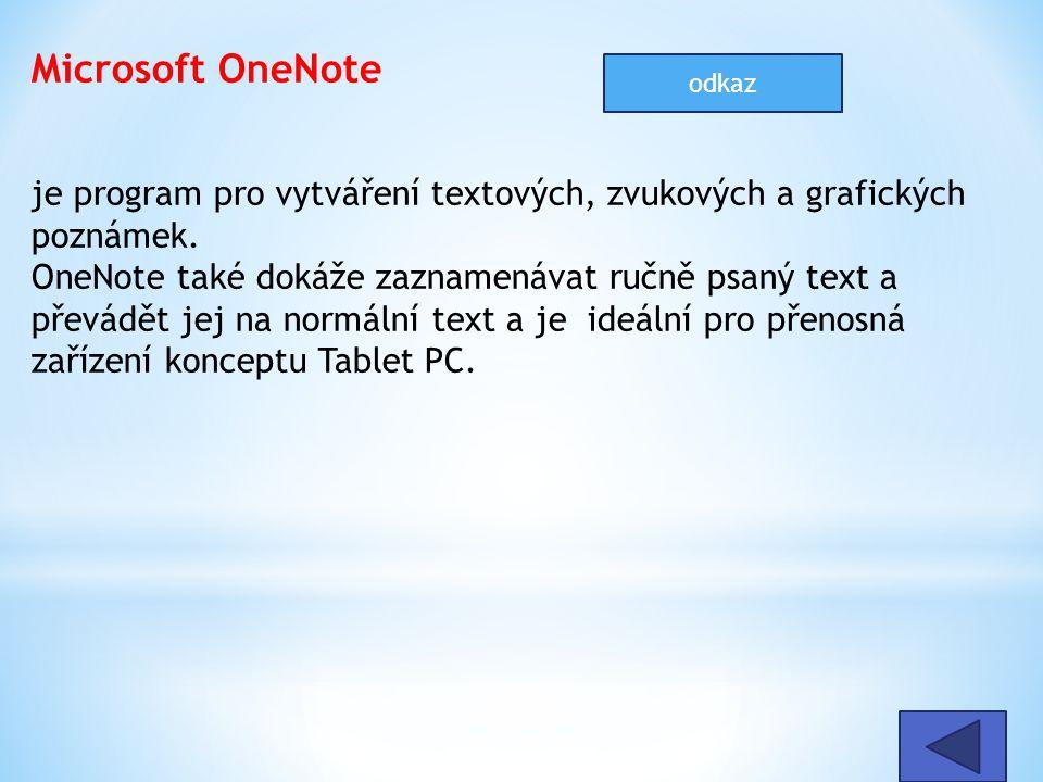 Microsoft OneNote je program pro vytváření textových, zvukových a grafických poznámek. OneNote také dokáže zaznamenávat ručně psaný text a převádět je