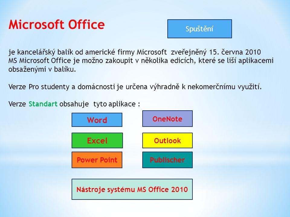 Microsoft Office je kancelářský balík od americké firmy Microsoft zveřejněný 15. června 2010 MS Microsoft Office je možno zakoupit v několika edicích,