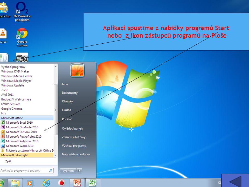 Aplikaci spustíme z nabídky programů Start nebo z ikon zástupců programů na Ploše