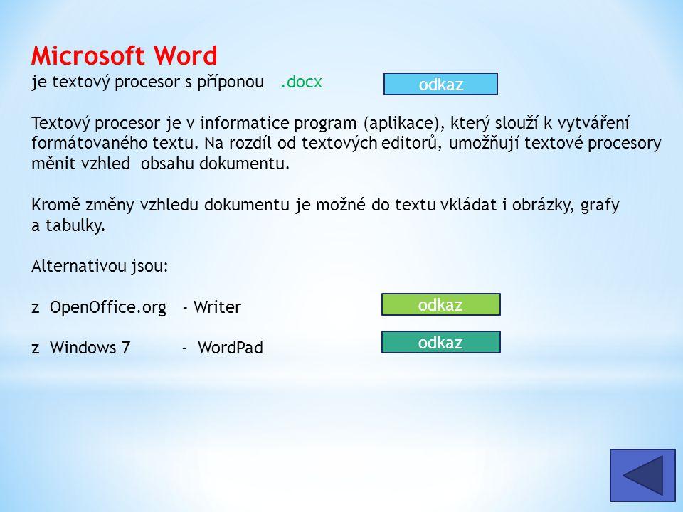 Microsoft Word je textový procesor s příponou.docx Textový procesor je v informatice program (aplikace), který slouží k vytváření formátovaného textu.