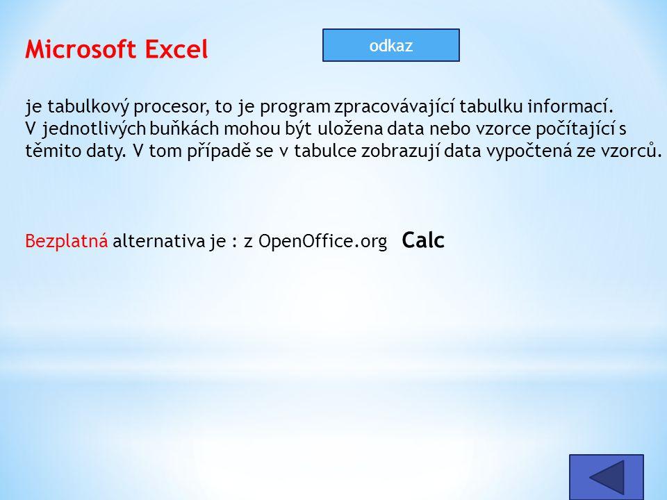 Microsoft Excel je tabulkový procesor, to je program zpracovávající tabulku informací. V jednotlivých buňkách mohou být uložena data nebo vzorce počít