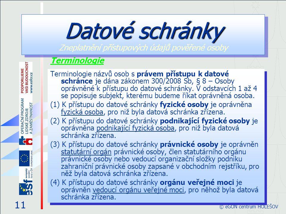 Terminologie názvů osob s právem přístupu k datové schránce je dána zákonem 300/2008 Sb, § 8 – Osoby oprávněné k přístupu do datové schránky.