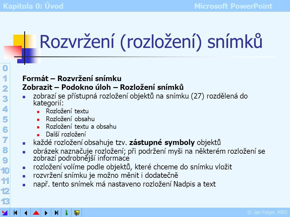 """Kapitola 0: Úvod Microsoft PowerPoint © Jan Felger 2005 Snímek základní """"stavební prvek"""" prezentace obdoba jednoho diapozitivu či fólie obsahuje text"""