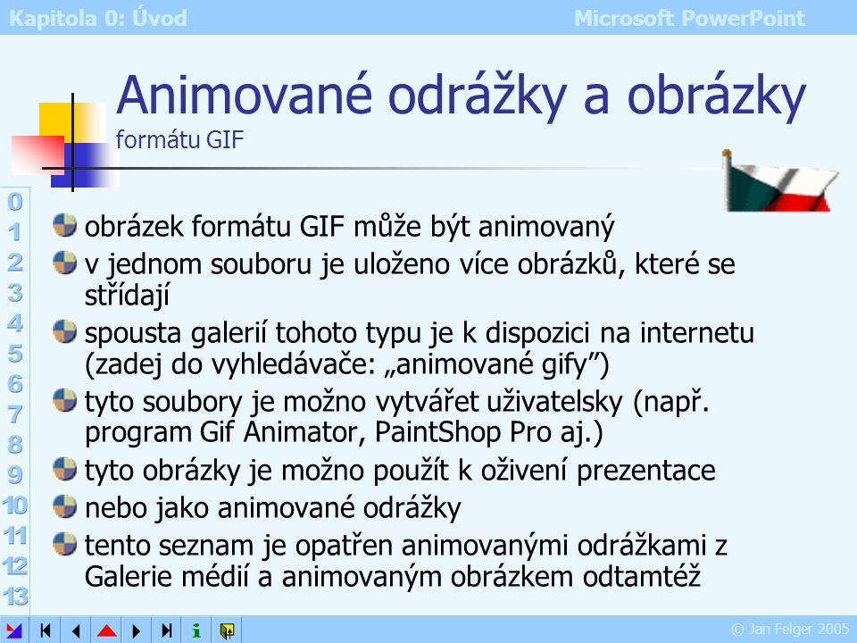 Kapitola 0: Úvod Microsoft PowerPoint © Jan Felger 2005 Víceúrovňový seznam s odrážkami: Grafika rastrová vektorová Písmo proporcionální neproporcioná