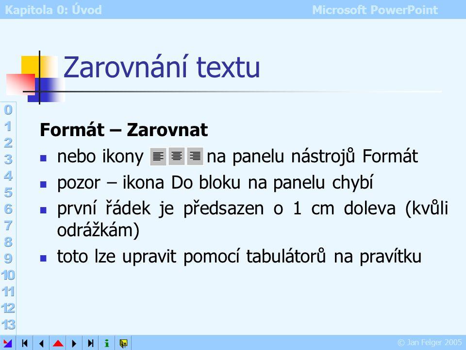 Kapitola 0: Úvod Microsoft PowerPoint © Jan Felger 2005 Animované odrážky a obrázky formátu GIF obrázek formátu GIF může být animovaný v jednom soubor