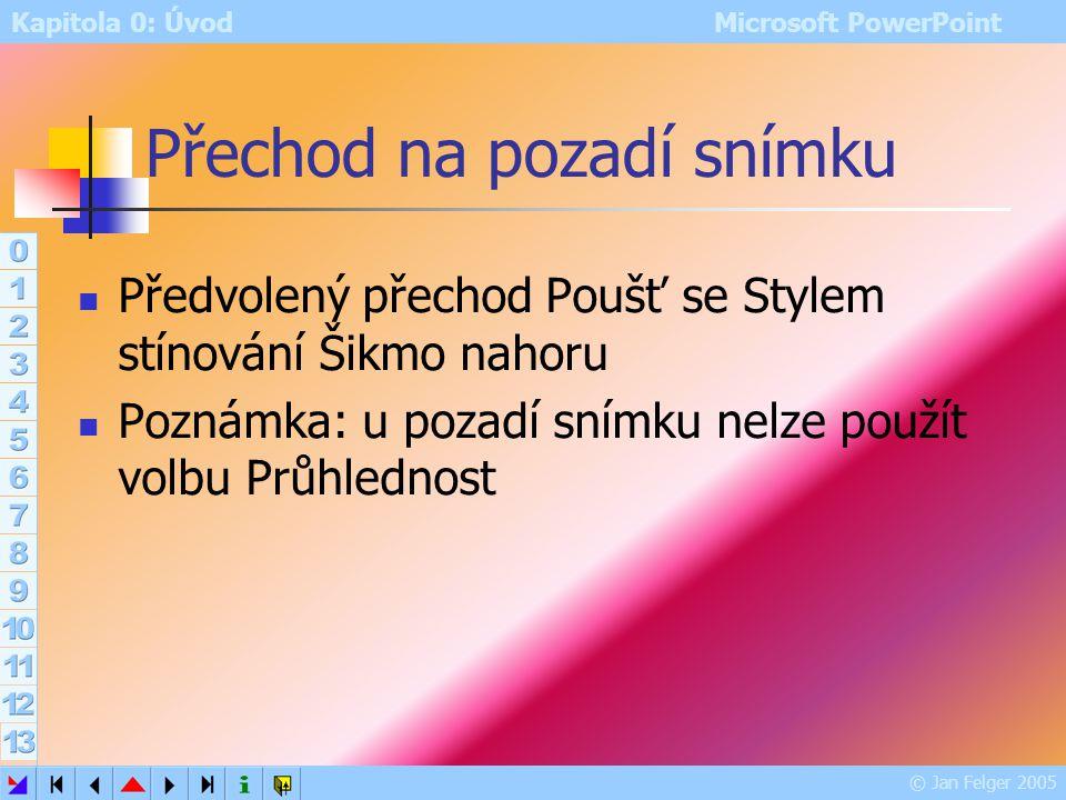 Kapitola 0: Úvod Microsoft PowerPoint © Jan Felger 2005 Pozadí Formát – Pozadí Místní nabídka plochy snímku – Pozadí umožňuje nastavit barvu pozadí vy